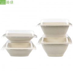 42oz Hot Food Disposable Biodegradable Bowls And Lids For Ramen/Noodles/Salad