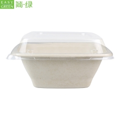 32oz Bagasse Bowls Biodegradable With Plastic Lids For Salad Container