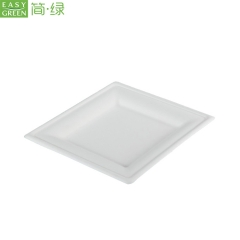 "8"" Biodegradable Disposable Sugarcane Pulp Square Cake Plate"