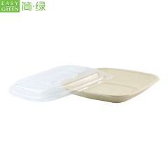Biodegradable Disposable Microwave Take Away Food Bagasse Container With Lid