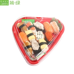 Disposable Plastic Sushi Container Tray of Heart shaped With Lid
