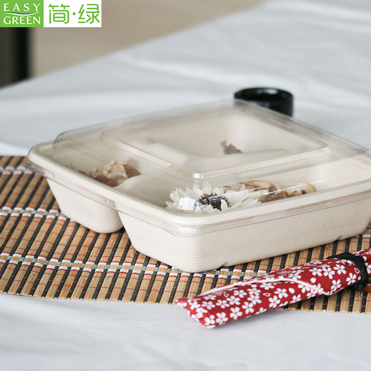 Bamboo Sugarcane Bagasse Container Bento Lunch Box Disposable