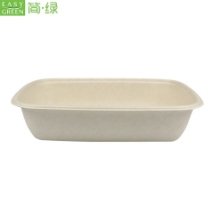 1000ml Eco Friendly Paper Disposable Bento Box For Narutral Pulp Biodegradable Lunch Box