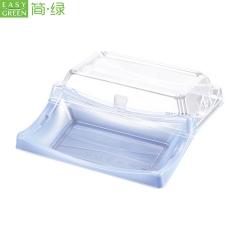 BF-20 Plastic Food Container Sushi Pack Tray For Clear Blue Rectangle Shape