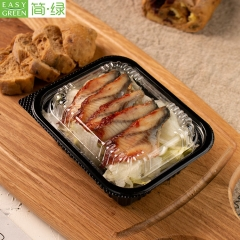 J-8505 Black Disposable Sushi Bento Box With Lid