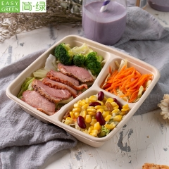 Biodegradable Bamboo Sugarcane Bagasse Container Bento Lunch Box Disposable