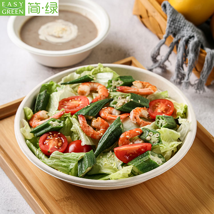 32oz Bagasse Biodegradable Salad Bowl For Instant Noodles Food Containers Disposable
