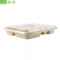 5-com Compostable Bagasse Paper Bamboo Disposable Lunch Plate Compartment Tray