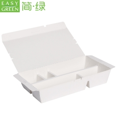 EASY GREEN Disposable Lunch Box White Paper Food Packaging with 5 Compartment