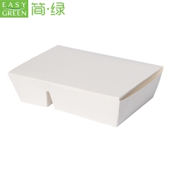 EASY GREEN Disposable Lunch Box White Paper Food Packaging with 2 Compartment